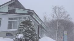 Heavy Snow Storm Hits Mountain Lodge