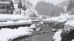 Small Mountain River Lined With Deep Snow Drifts In Winter