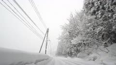 Driving In Deep Snow On Rural Highway