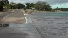 Low Lying Coastal Road Vulnerable To Flooding Prior To Cyclone Debbie