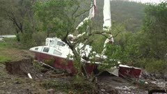 Boat Washed Ashore By Storm Surge Of Major Hurricane