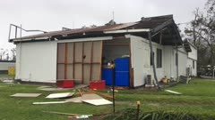 Heavily Damaged Building In Aftermath Of Major Hurricane
