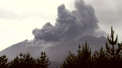 Volcanic Eruption Sends Ash Into Sky Above Volcano