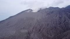 Aerial Footage Of Sakurajima Volcano Active Crater