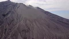 Aerial Footage Close Up Of Sakurajima Volcano Active Crater
