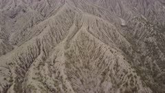 Aerial Footage Of Rugged And Eroded Volcanic Landscape
