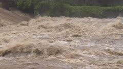 Fast Flowing River Rapids After Storm Dumps Huge Rain