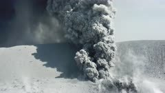 Aerial Footage Violent Volcanic Eruption Spewing Ash Close Up