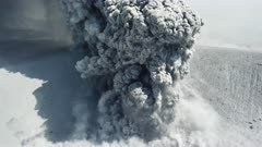 Aerial Footage Volcanic Ash And Lava Erupting From Crater