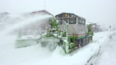 Snow Clearing Train Works In Major Blizzard