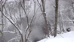 Steaming Volcanic Hot Spring River In Snow Covered Forest