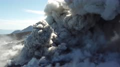 Aerial Drone Footage Explosions And Volcanic Ash Erupting From Volcano