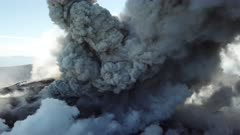Incredible Aerial Footage Explosive Volcanic Eruption Inside Volcano Crater