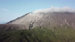 Drone Footage Sakurajima Volcano Steaming Crater