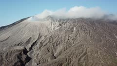 Aerial Shot Fly By Active Volcanic Crater
