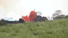 Kilauea Volcano Eruption 2018 - Lava Erupts From Giant Fissure In Field