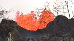 Kilauea Volcano Eruption 2018 - Lava Churns From Active Fissure
