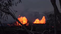 Kilauea Volcano Eruption 2018 - Erupting Fissures Spew Lava At Twilight