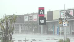 Hurricane Wind And Rain Whips Across Parking Lot