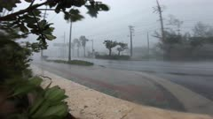 Powerful Wind And Rain In Hurricane Eye Wall Lashes Camera
