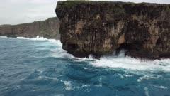 Aerial Footage Coastline Rugged Cliffs And Large Waves