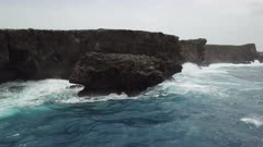 Aerial Footage Of Rough Sea And Rugged Cliffs