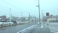 Strong Hurricane Wind Blows Debris And Rocks Power Lines In Town