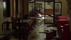 Wrecked Hotel Lobby After Major Hurricane Landfall
