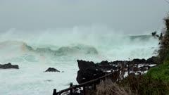 Large Swells Crash Ashore Day Before Hurricane Makes Landfall