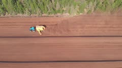 Mining of peat in drained bog