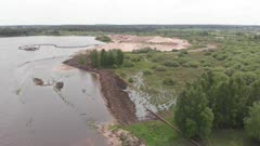 Sand mining by pumping it out from river bank