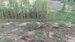 Freshly logged clearing, machine brings out wood from forest
