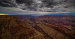 Monsoon Storms roil and churn the evening desert sky above the Grand Canyon