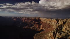 Grand Canyon with heavy distant downpour during a monsoon thunderstorm event - Desert View #2