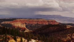 Lightning strikes the wildfire scared cliffs of Bryce Canyon.  Lightning strikes at :02 seconds in.