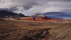 Red Rock Canyon vista with dramatic late summer sky.