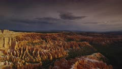 Bryce Canyon Amphitheater with evening Monsoon Storm Clouds