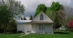 Classic view of the famous American Gothic house in Eldon, Iowa.