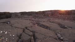 Hawaii Island lava field with ancient petroglyphs