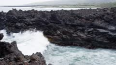 Hawaii Island -  Rocky Coast with Ancient Canoe Landing