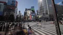 Traffic And Pedestrians At Busy Tokyo Corner