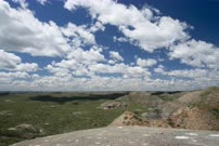 Scenic badlands with cloud and shadow movement