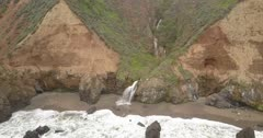 AERIAL, Central California, Big Sur, COAST WATERFALL