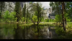 Raging waterfall, reflective pool of water, colorful, Yosemite