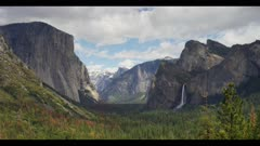Yosemite Tunnel View, Time-lapse, clouds across forest and cliffs