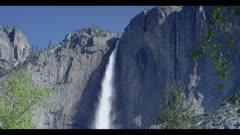 Waterfall raging, pan downwards to rocks