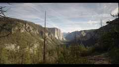 Above Tunnel View, classic view, light waterfall in distance, winter