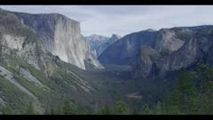 Above Tunnel View, pan right to waterfall in winter