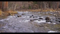 River water ripples over boulders and rocks, scenic Yosemite, 12fps