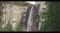 Bridalveil Fall in winter, low water flow, tilt downward